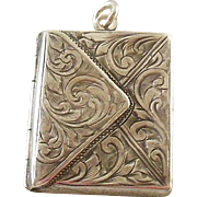 English Hallmarked Sterling Silver Envelope Stamp Holder and Locket Combined