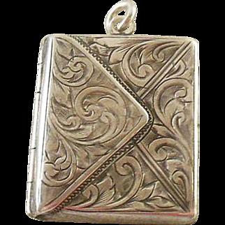 English Hallmarked Sterling Silver Envelope Stamp Holder and Locket Combined
