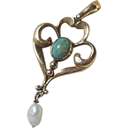 English 9 Carat Gold Lavalier with Gem Set Turquoise and Baroque Pearl Drop circa 1901-15