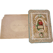 Large Victorian(1837-1901) Die Cut Lacy Layered Valentine Greeting Card with Poem Verse and Envelope with Stamps