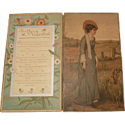 "Large Silk Fringed Victorian (1837-1901) Valentine Greeting/Poem -Fold-out-Card""To My Valentine"""