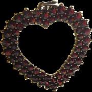 Vintage Open Heart Pendant Bohemian Garnets