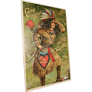 1911 Postmarked Stamped Postcard Valentine Come to Your Waiting Valentine American Indian and Hearts Motif
