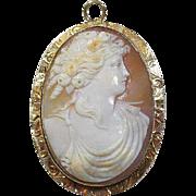 Edwardian (1910), 10 Carat Gold Framed Carved Cameo Brooch/Pendant