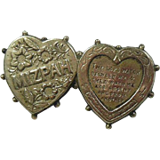 English Double Heart Mizpah Brooch