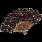Bohemian Garnet Fan Brooch