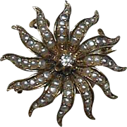 Sun-Star Burst 14 Carat Gold Split Seed Pearl and Diamond Pendant/Brooch Circa 1920-40