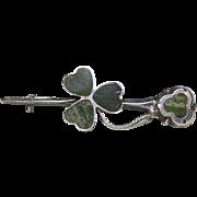 Irish Connemara Marble Sterling Silver Bar Brooch- Shamrock