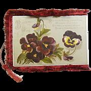 Victorian 1837-1901 Silk Fringed Fold Open Birthday Greeting Card/Poem Pansies