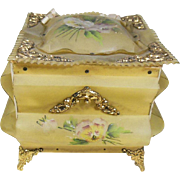 Rare Victorian 1837-1901 Celluloid Keepsake/Vanity Box- Hand Painted Pansy