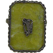 Sterling Silver 925/1000 and Connemara Marble Brooch- Harp, St Patrick's