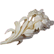 Victorian 1837-1901 Carved Brooch Lily of the Valley