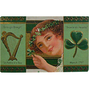 St Patrick's Day Postcard, Hand Stamped March 17, 1919 Irish Lass-Harp-Shamrock