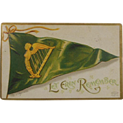 Let Erin Remember St Patrick's Day Postcard Clapsaddle-1919 Hand Stamped with original Stamp