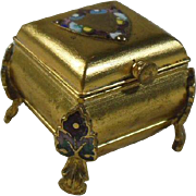 Gilt Gold Metal and Cloisonne Ring/Trinket/Keepsake Box