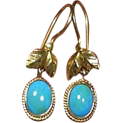14 Carat Gold 585/1000 and Persian Turquoise Ear Pendants