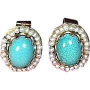 9 Carat Gold Turquoise and Seed Pearl Stud Ear Pendants circa 1900-1920