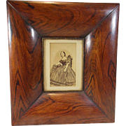 Victorian Lady Portrait Framed in a Heavy Burled Wood Frame Circa 1850-1890