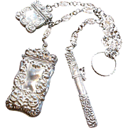Victorian (1837-1901) Sterling Silver Ring Chatelaine with 3 Notions Needle Holder-Match Safe- Small Container, All Repose, Filigree Chains