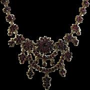 Victorian (1837-1901)  Bohemian Garnet Rosette Fringe Necklace