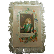 Victorian (1837-1901) Silk Fringed Love's Greeting Card Double Sided