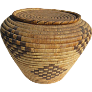 Large Lidded Southwestern Papago American Indian Basket-1920