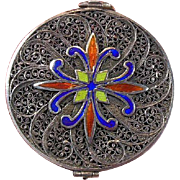 Enameled Accented Filigree Trinket/Patch/Keepsake Case/Container/Pot/Box