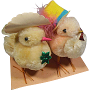 Lady and Gentleman Easter Chicks Dressed in their Easter Bonnet and Top Hat Finery