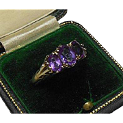 English 9 Carat Gold and Amethyst Gem Dress Ring Hallmarked