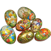 Seven Vintage Decorated Paper Mache Easter Egg Boxes