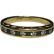 18K Gold Diamond and Emerald Half Eternity Ring