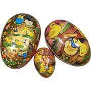 Three Vintage Paper Masche Easter Egg Boxes