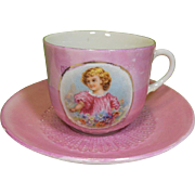 Vintage Pink Luster Cup and Saucer