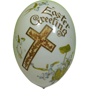 Hand Painted Opaque Glass Easter Egg Greeting Circa 1900-30