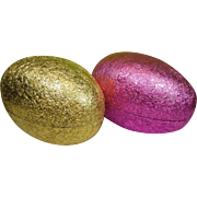 Large Pair of Crimpled Foil Paper Mache Easter Egg Boxes Made in Western Germany
