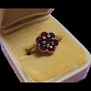 14 Karat Gold Bohemian Garnet and Rose Cut Bezel Set Diamond Dress Ring- Size 6