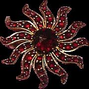 Bohemian Garnet Star Burst Brooch