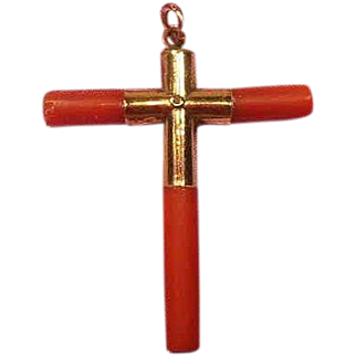 Coral and 9 Karat Gold Cross Easter
