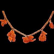15 Karat Gold - Carved Salmon Coral Rose Flower Fringe Necklace Circa 1880-1920