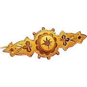 9 Karat Gold and Rose Cut Diamond Sweetheart Brooch
