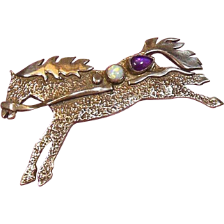 Vintage Sterling Silver -Opal and Amethyst Equine/Horse Brooch