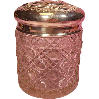English Cut Crystal Glass and Sterling Silver Vanity Jar Hallmarked