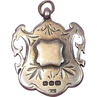 English Sterling Silver Double-Sided Trophy/Fob/Pendant/Charm Hallmarked-1896