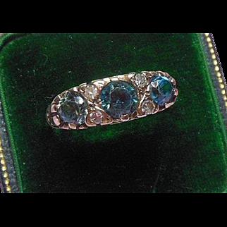 English 9CT- Gold- Blue Zircon and Diamond Dress Ring, Hallmarked, London
