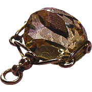 Edwardian English 9 Carat Gold and Faceted Citrine Spinner Fob/Pendant/Charm Hallmarked 1908
