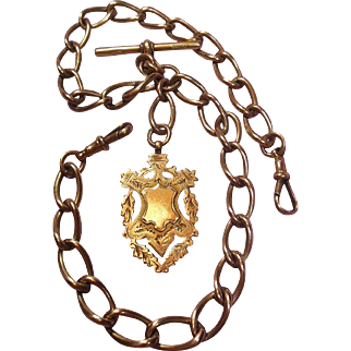 English 9 Carat(.375) Rose Gold Double Albert Watch Fob/Trophy/Pendant/Charm Chain, Hallmarked 1908-51.6 grams