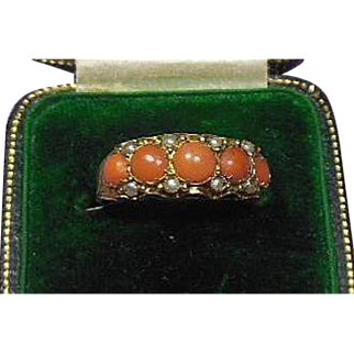 Victorian 9 Carat Gold .375 Natural Coral and Split Seed Pearl Dress Ring Hallmarked 1884