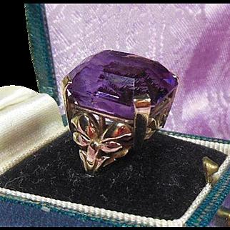 Arts and Crafts 9 Carat Gold(.375) Amethyst Dress Ring
