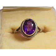 English Arts and Crafts 9 Carat Gold Amethyst Dress Ring Hallmarked 1919