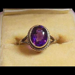 Arts and Crafts 9 Carat Gold Amethyst Dress Ring